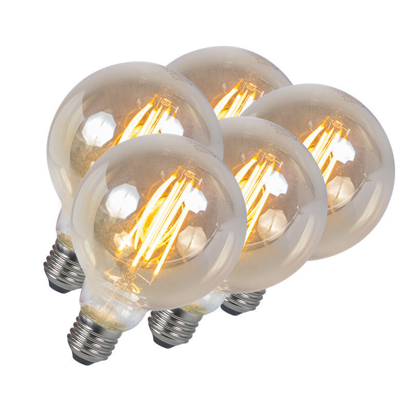 Set van 5 LED filament lamp E27 5W 2200K G95 smoke dimbaar | QAZQA | 8718881074233