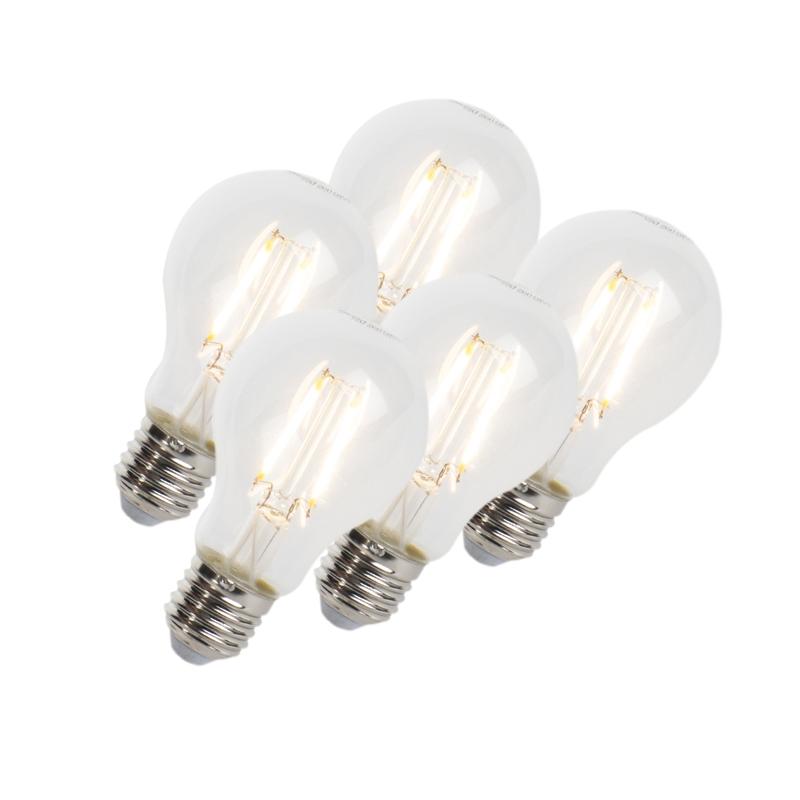 Set van 5 LED filament lamp E27 5W 470lm A60 dimbaar helder | LUEDD | 8718881074035
