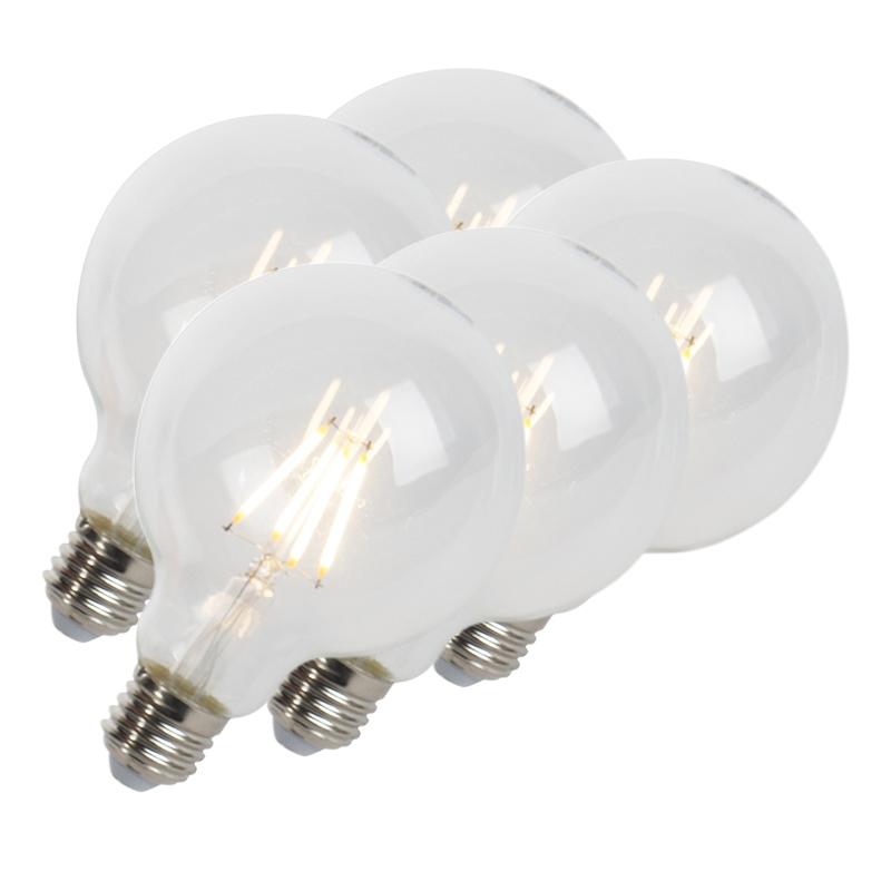 Set van 5 LED filament lamp E27 5W 470lm G95 dimbaar helder | LUEDD | 8718881074073