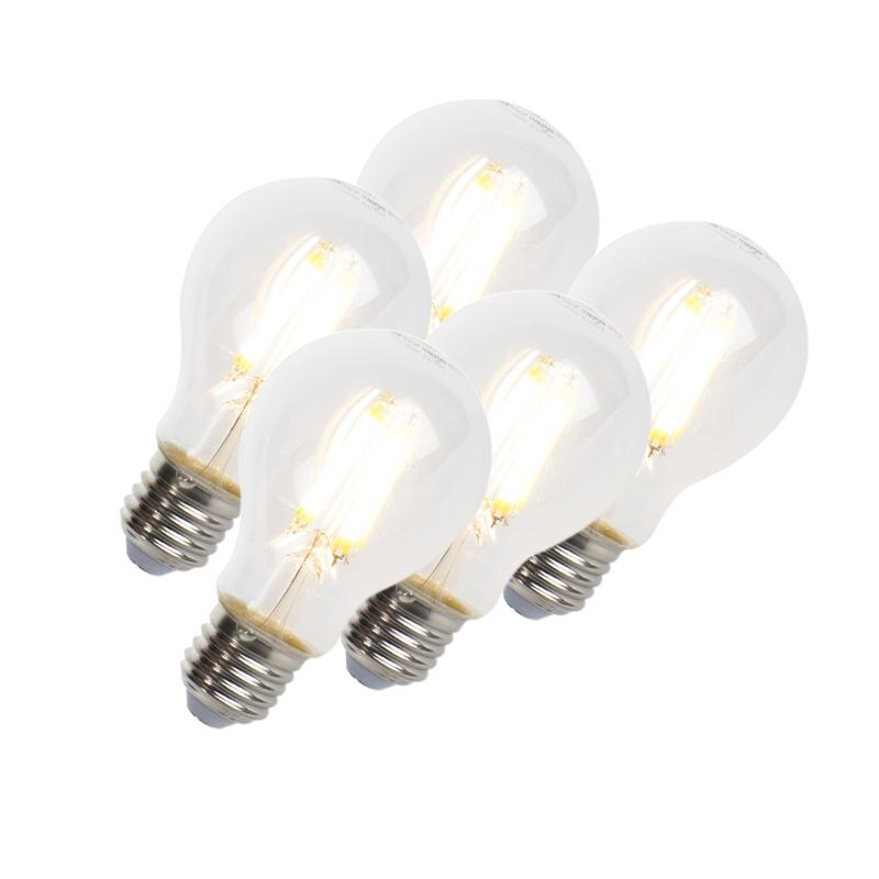 Set van 5 LED filament lamp E27 7W 806lm A60 dimbaar helder | LUEDD | 8718881074059