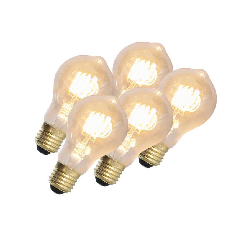 Set van 5 LED gedraaide filamentlamp E27 240V 4W 200lm dimbaar | Calex | 8718881074356