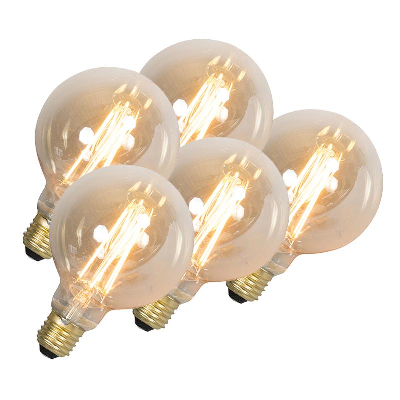 Set van 5 LED langfilament globelamp E27 240V 4W 320lm dimbaar   Calex   8718881065439