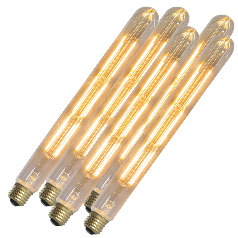 Set van 5 LED langfilamentlamp buis E27 240V 4W 400lm dimbaar | Calex | 8718881074332