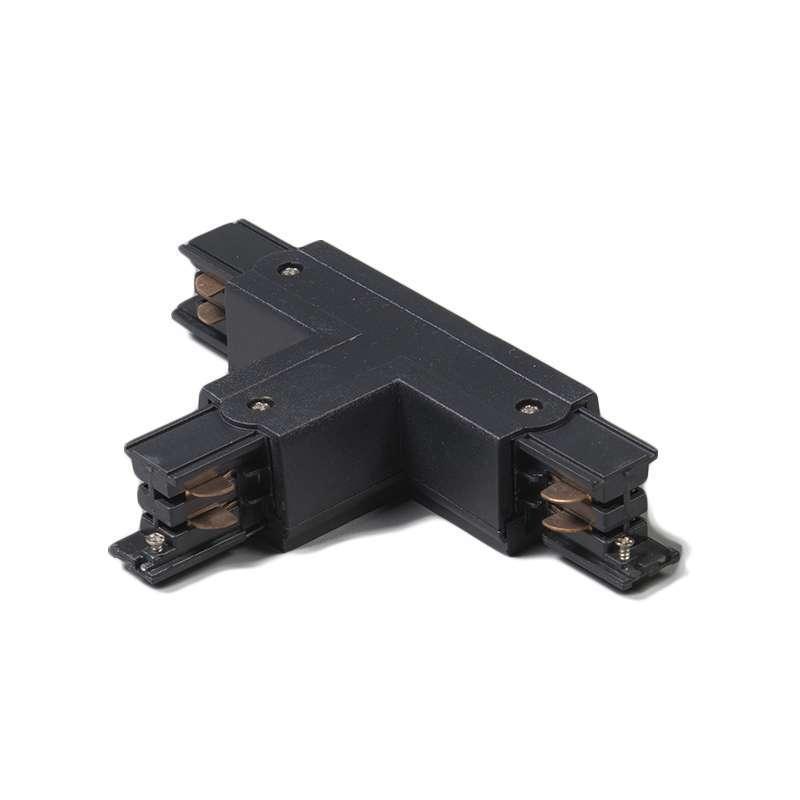 T-Koppelstuk voor 3-fase rail links T zwart | QAZQA | 8718881022876