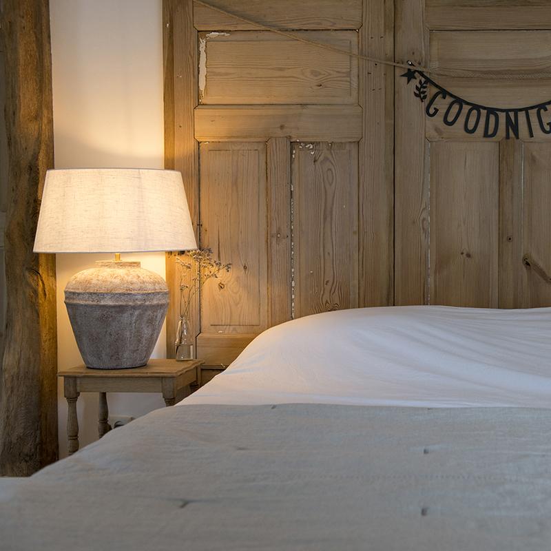 Tafellamp Arta S Scotch met kap 50cm linnen wit | QAZQA | 8718881044625