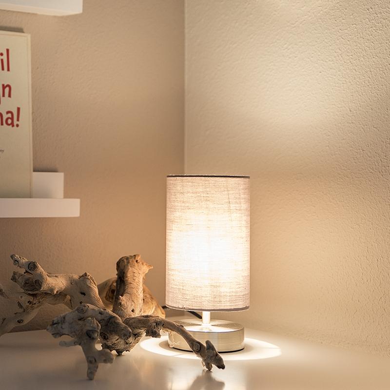 Tafellamp Milo 2 rond grijs | QAZQA | 8718881032196