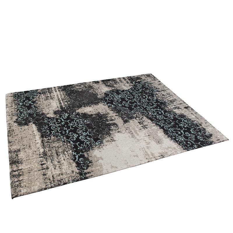 Vintage rechthoekig vloerkleed zwart/turqouise 160 x 230cm – Puri | QAZQA | 8718881068836