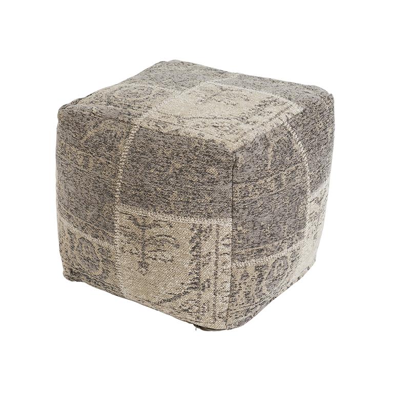 Vintage vierkant poefje grijs 45 x 45 x 45cm – Agra | QAZQA | 8718881069031