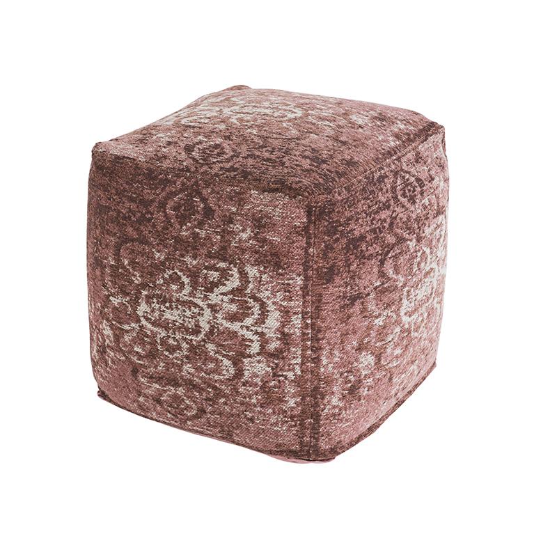 Vintage vierkant poefje oud roze 45 x 45 x 45cm – Kanpur | QAZQA | 8718881068720