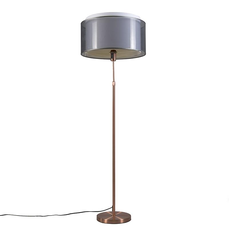 Vloerlamp Parte koper met zwartwitte kap | QAZQA | 8718881050435