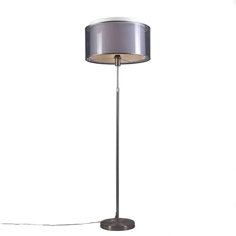 Vloerlamp Parte staal met zwart-witte kap | QAZQA | 8718881050220