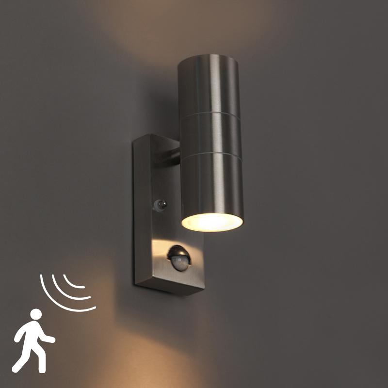 Wandlamp Duo staal bewegingssensor | QAZQA | 8718881057540