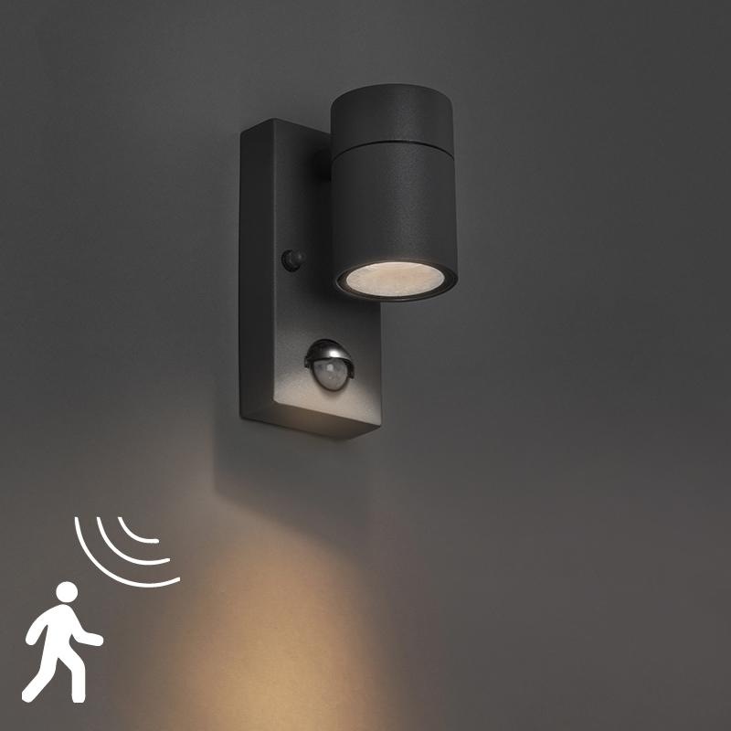 Wandlamp Solo donker grijs bewegingssensor | QAZQA | 8718881057625