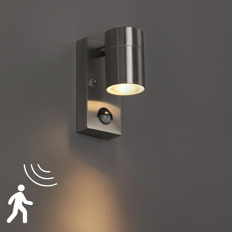 Wandlamp Solo staal bewegingssensor | QAZQA | 8718881057601