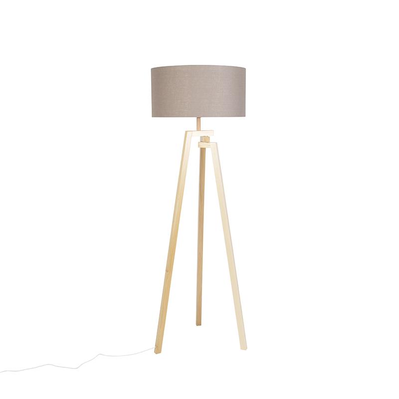 Design vloerlamp driepoot naturel hout met grijze kap – Cortina | QAZQA | 8718881088124
