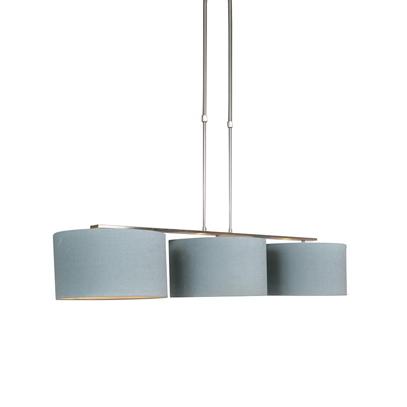 Hanglamp Combi 3 Deluxe staal met kap 35cm mineraal   QAZQA   8718881069628