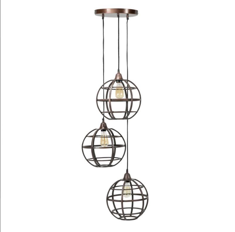 Hanglamp Globe Antiek Koper 3Lichts 33cm Rond |  | 7109616147147
