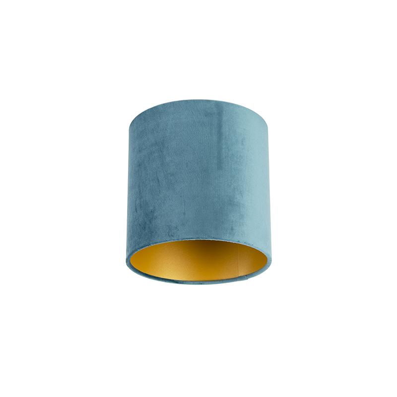 Lampenkap velours 20/20/20 blauw – goud | QAZQA | 8718881089183