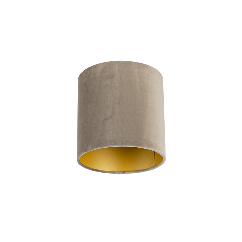Lampenkap velours 20/20/20 taupe – goud | QAZQA | 8718881089343