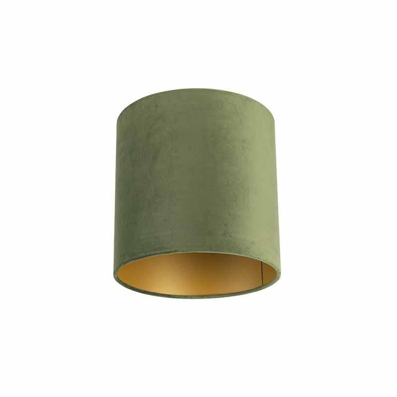 Lampenkap velours 25/25/25 groen – goud   QAZQA   8718881089350