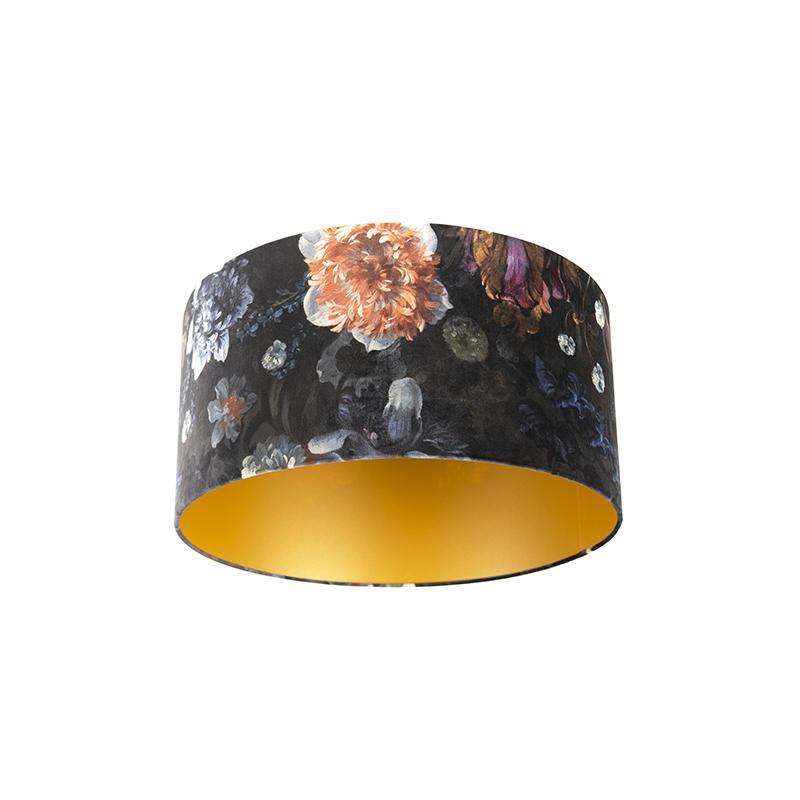 Lampenkap velours 50/50/25 bloemen – goud | QAZQA | 8718881089077