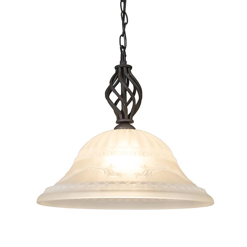 Landelijke hanglamp roestkleur met glas – Elegant 1 | Trio Leuchten | 4017807053265