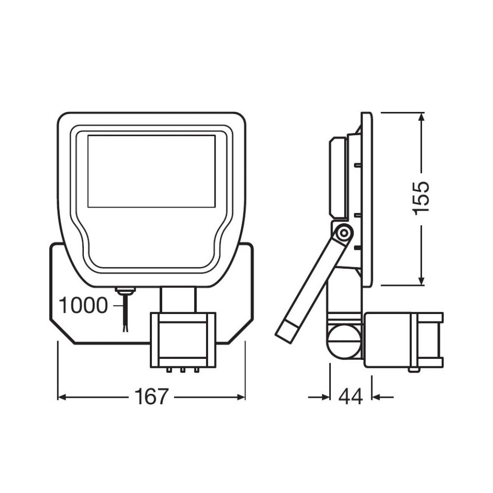 Ledvance LED Breedstraler 20W 4000K 1900lm IP65 Zwart   Symmetrisch – met Sensor – Vervangt 50W   Ledvance   4058075814691