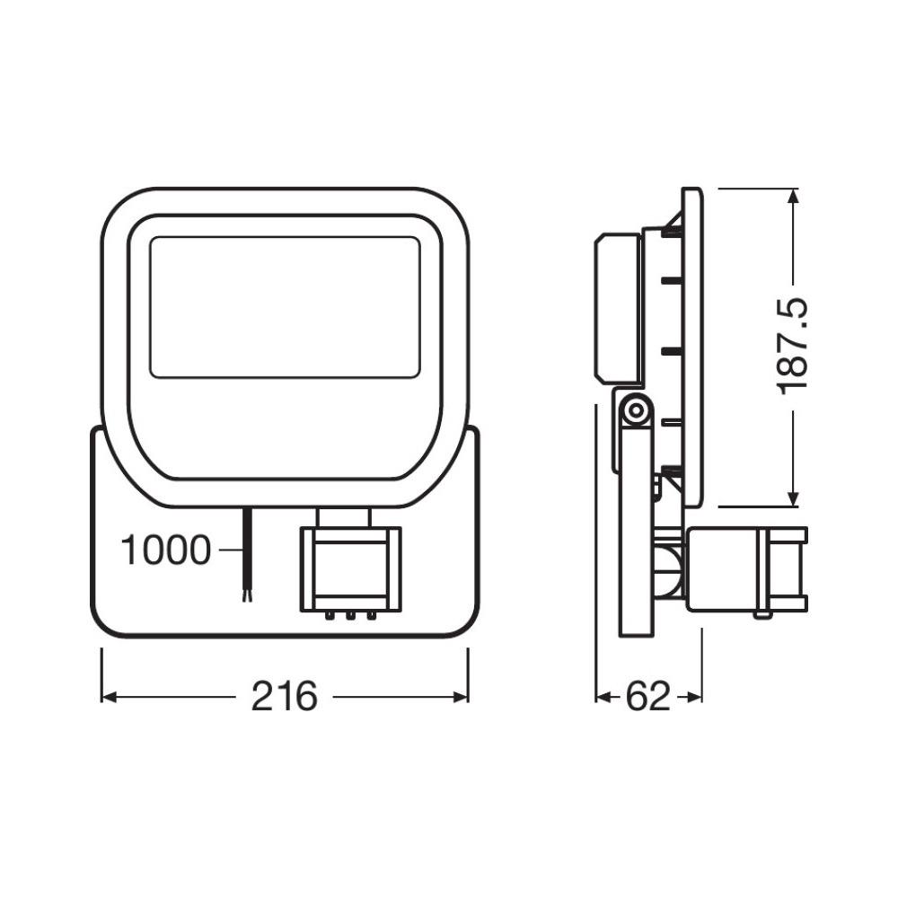 Ledvance LED Breedstraler 50W 4000K 4750lm IP65 Zwart | Symmetrisch – met Sensor – Vervangt 100W | Ledvance | 4058075814738