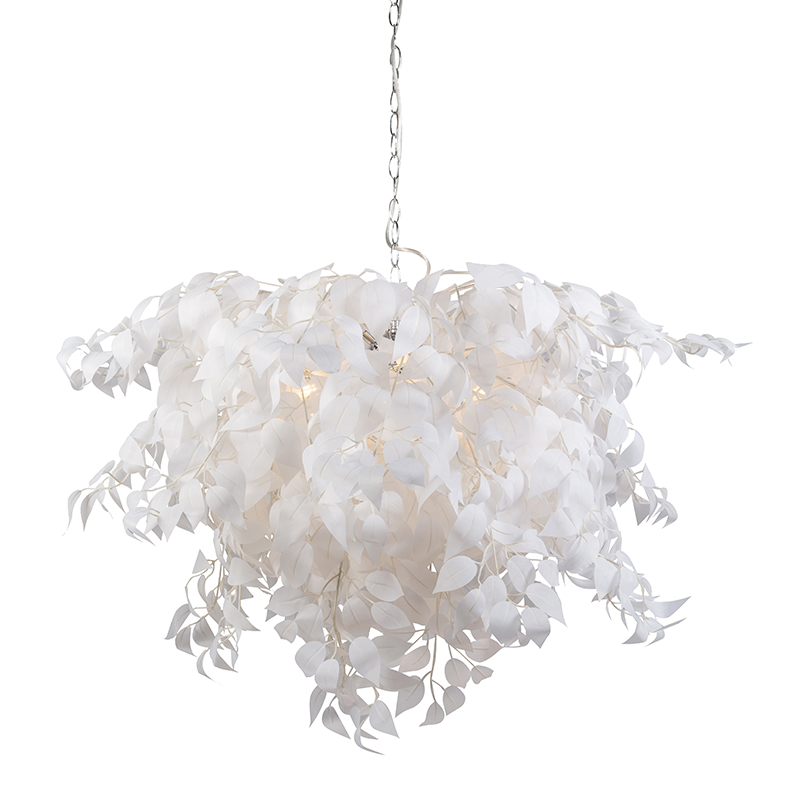 Moderne hanglamp chroom met witte blaadjes 100cm diameter – Feder | Trio Leuchten | 4017807299564