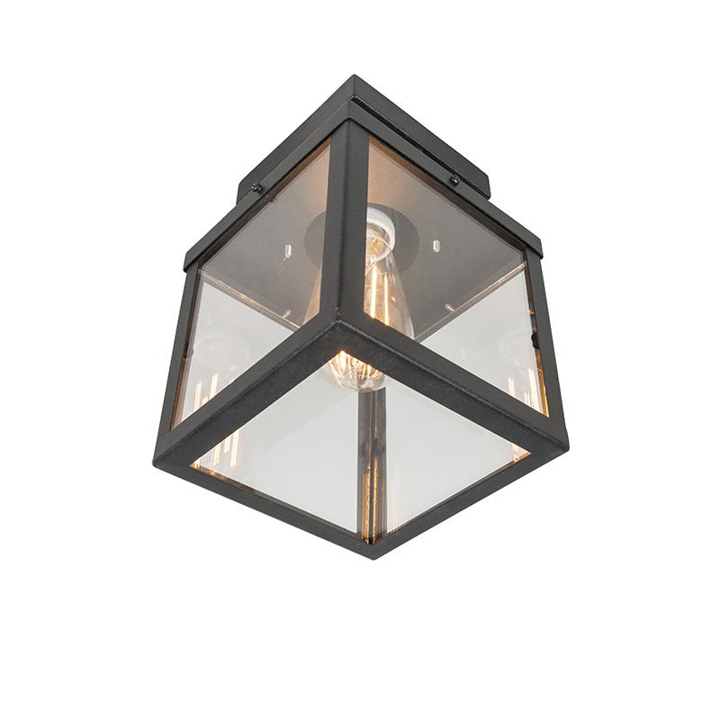 Moderne vierkante buitenplafondlamp zwart 1-lichts – Rotterdam | QAZQA | 8718881055072