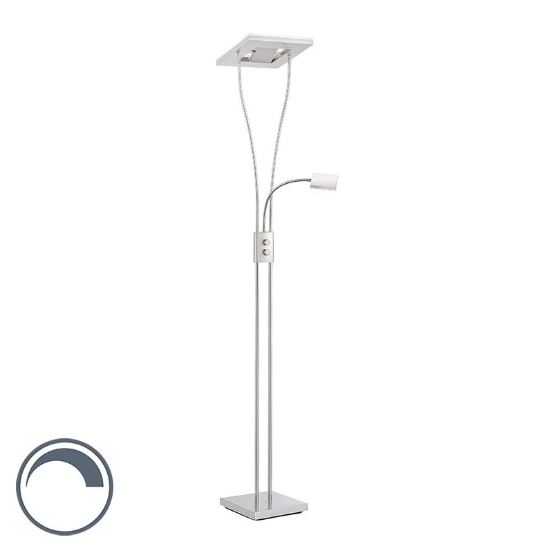 Moderne vierkante vloerlamp staal met leeslamp incl. LED- Helia | Kaemingk | 4043689924584