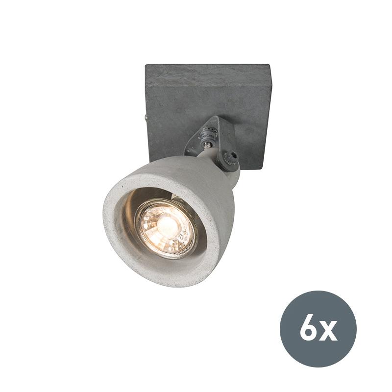 Set van 6 spots Creto 1 grijs beton | Kaemingk | 8718881079610