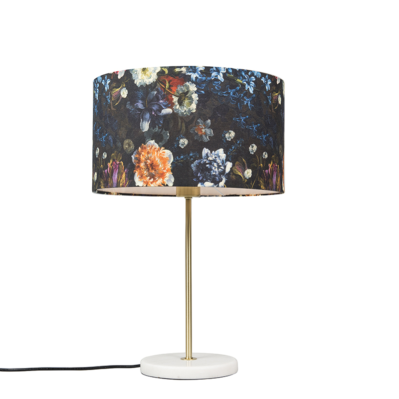 Tafellamp Kaso messing met kap 35cm flora | QAZQA | 8718881069772