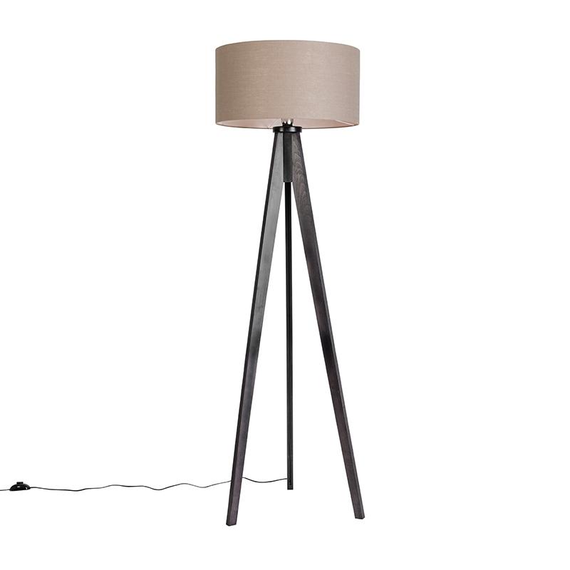 Vloerlamp Tripod Classic zwart met kap 50cm oud grijs | QAZQA | 8718881071713