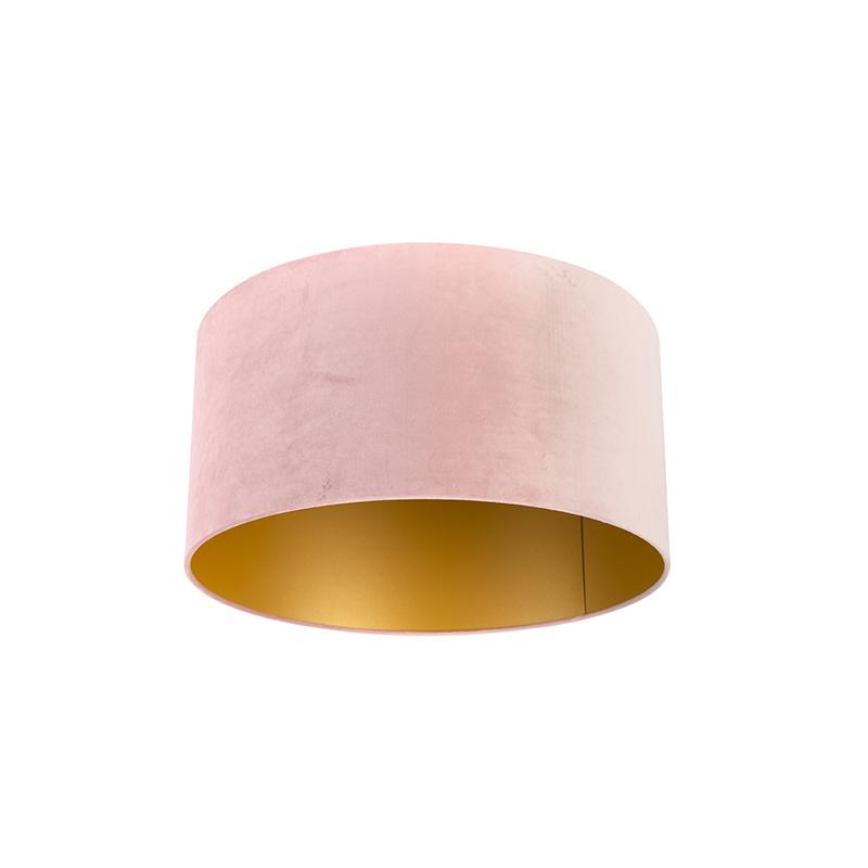 Lampenkap velours 50/50/25 oud roze – goud | QAZQA | 8718881089480