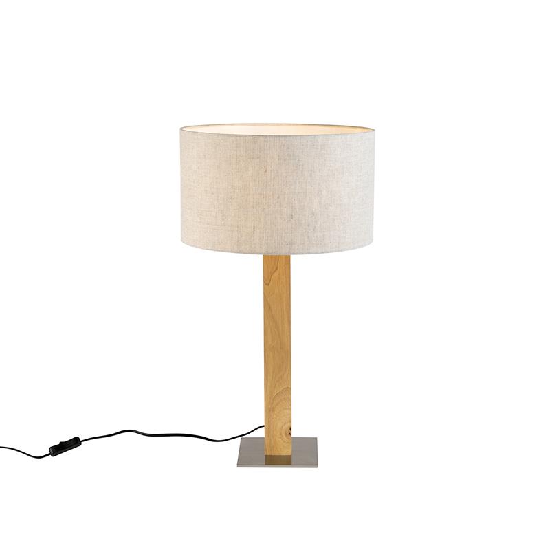 Landelijke rechte tafellamp hout met peperkleurige kap 35cm – Pillar | QAZQA | 8718881081903