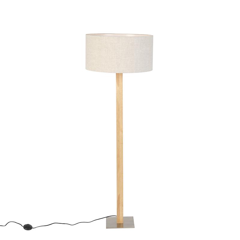 Landelijke rechte vloerlamp hout met beige kap 50cm – Pillar   QAZQA   8718881081927