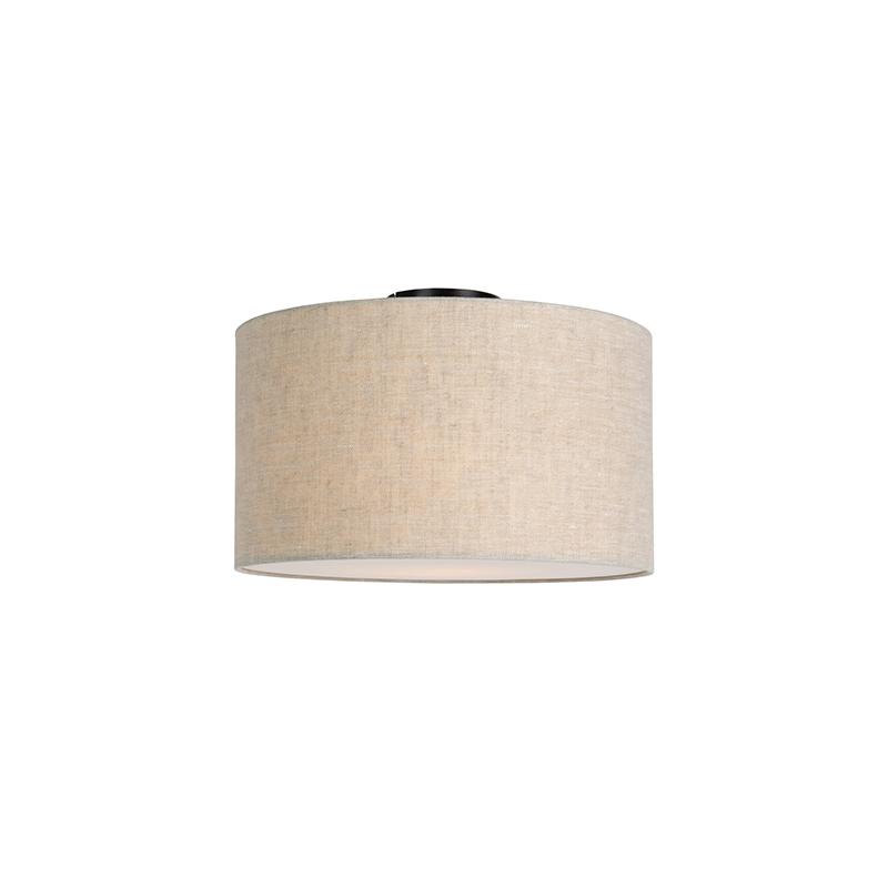 Moderne plafondlamp zwart met peper kleurige kap en blender 35cm – Combi | QAZQA | 8718881085055