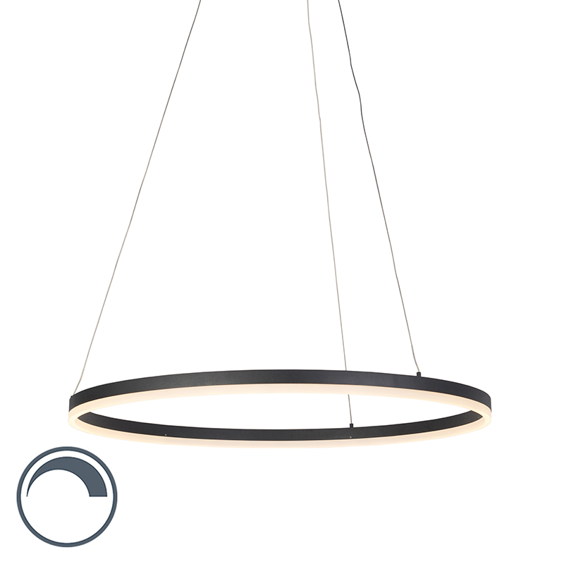 Moderne ring hanglamp zwart 80cm incl. LED en dimmer – Anello | Paul Neuhaus | 4012248305164