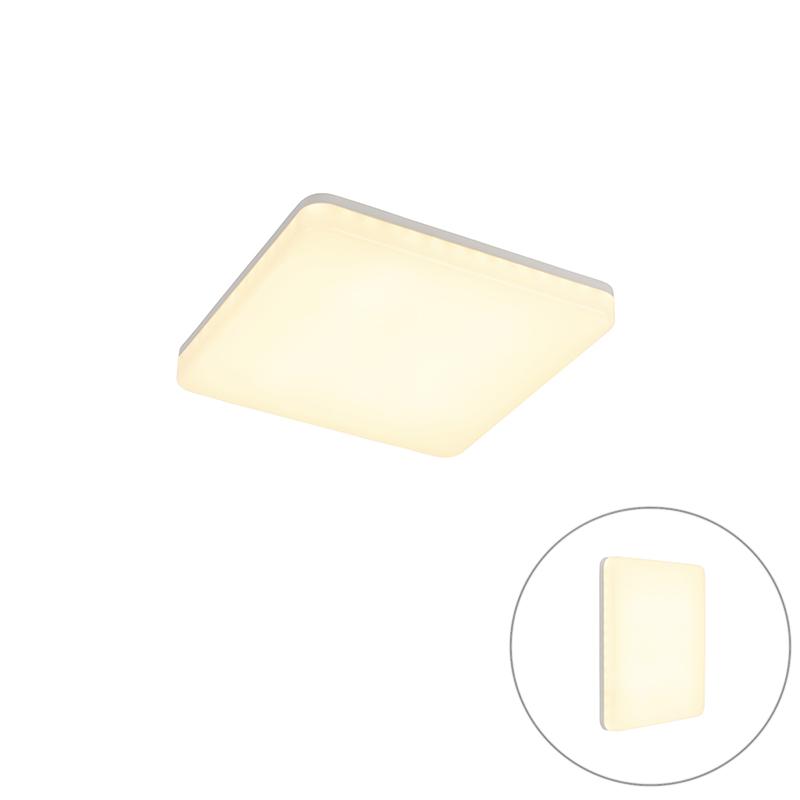 Moderne vierkante plafondlamp wit incl. LED – Plater   QAZQA   8718881083167