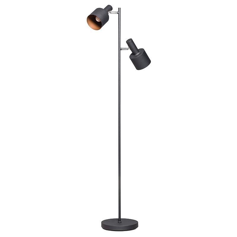 Moderne vloerlamp zwart met 2 spots – Conter | ETH | 8719075184325