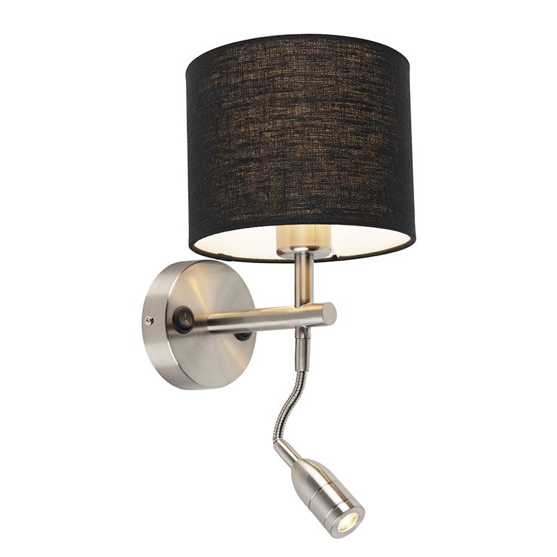 Moderne wandlamp staal met leeslamp en kap 18/18/14 zwart | QAZQA | 8718881094521