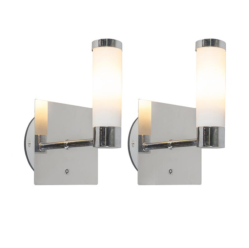 Set van 2 wandlampen Bath 1 chroom   QAZQA   8718881079894