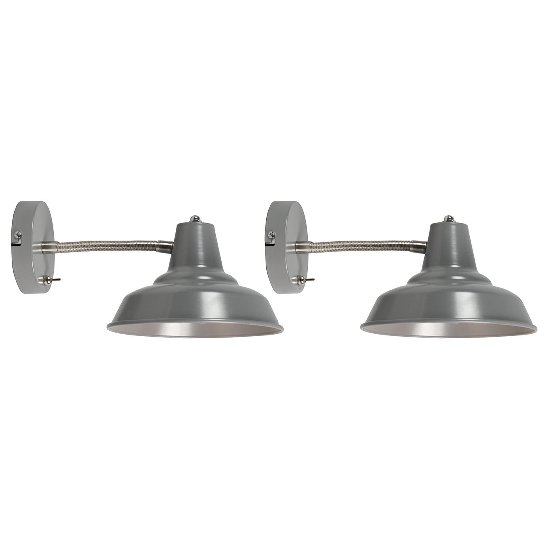 Set van 2 wandlampen Pixa grijs | QAZQA | 8718881080166