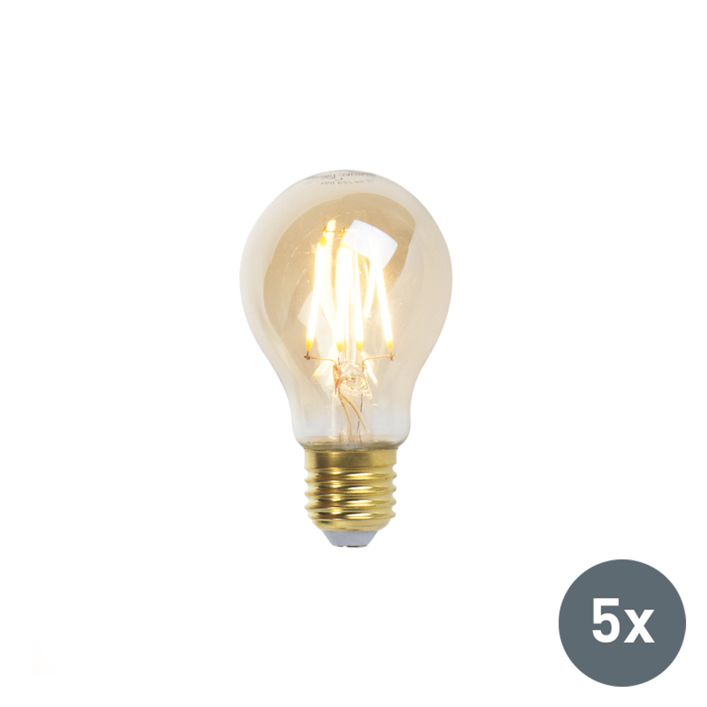 Set van 5 LED Goldline filament lamp E27 5W 360lm A60 dimbaar | LUEDD | 8718881074097