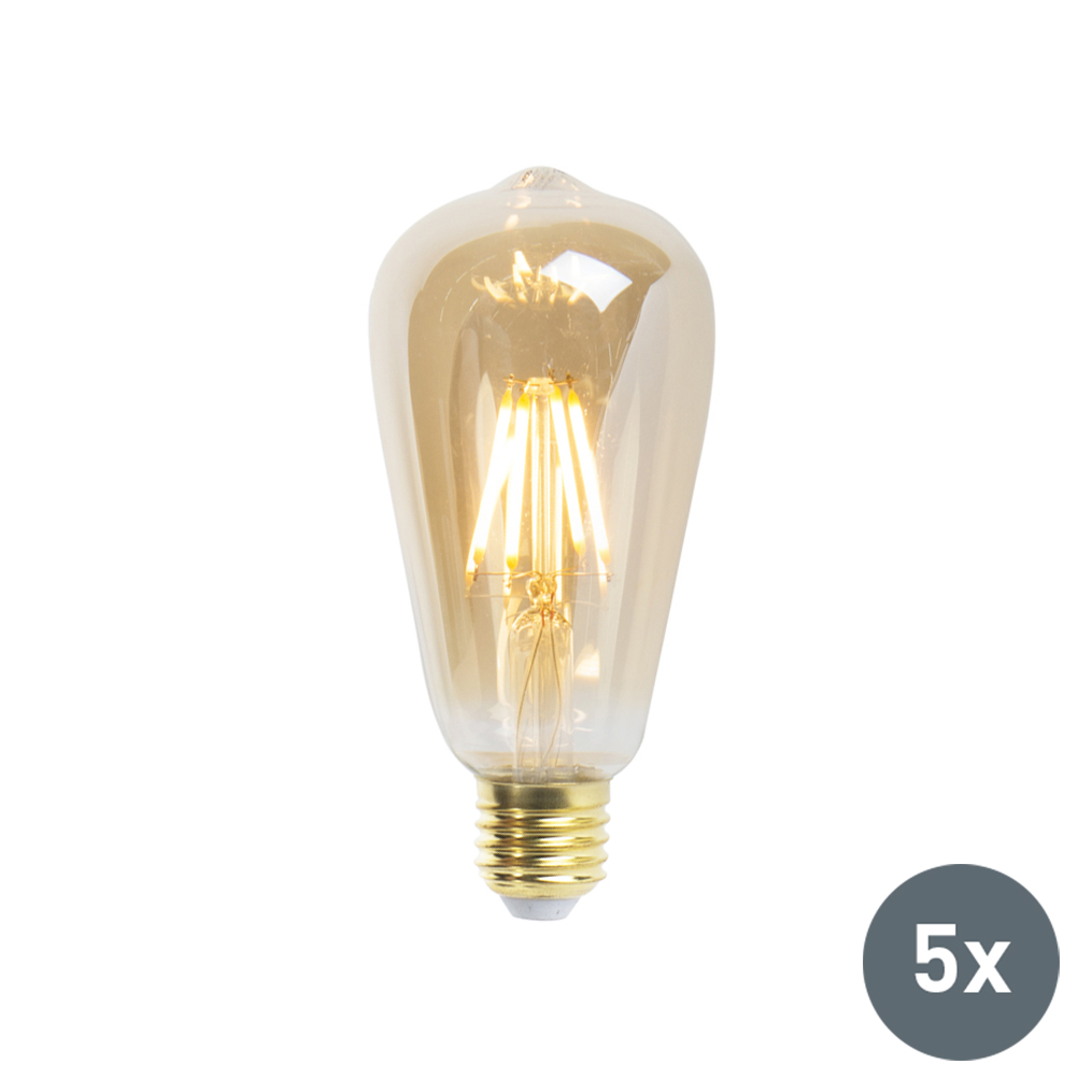 Set van 5 LED Goldline filament lamp E27 5W 360lm ST64 dimbaar | LUEDD | 8718881074110