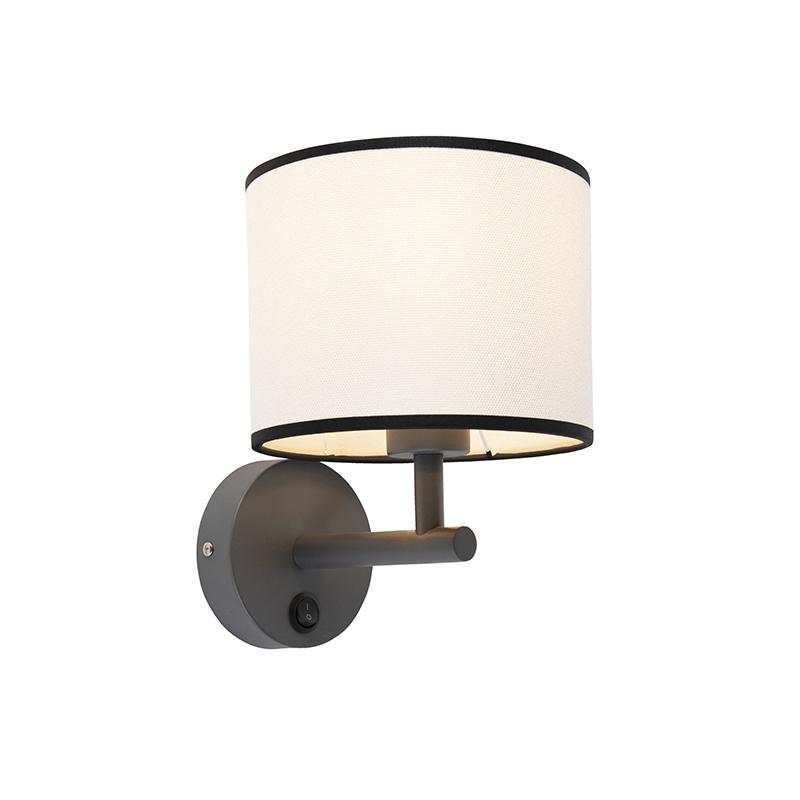 Strakke wandlamp donkergrijs met kap 18/18/14 wit met zwarte rand | QAZQA | 8718881094163