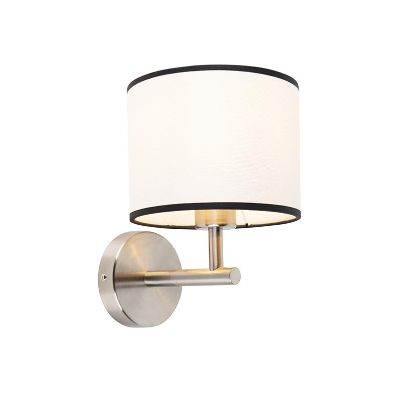 Strakke wandlamp staal met kap 18/18/14 wit met zwarte rand | QAZQA | 8718881094316