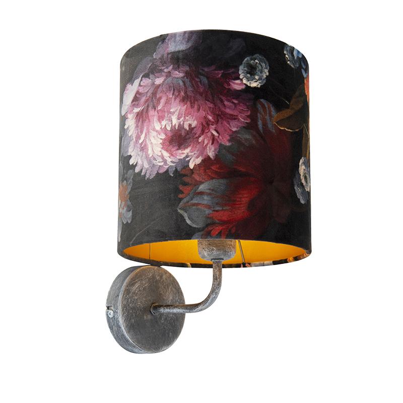 Vintage wandlamp antiek grijs met kap velours 20/20/20 bloemen – goud | QAZQA | 8718881094040
