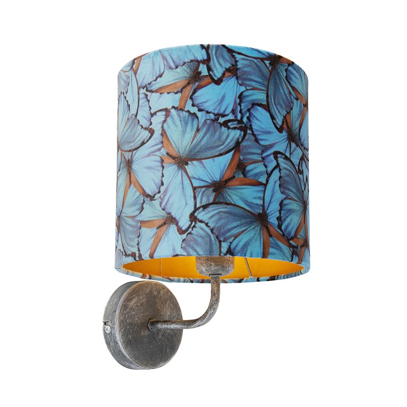 Vintage wandlamp antiek grijs met kap velours 20/20/20 vlinder – goud   QAZQA   8718881094057